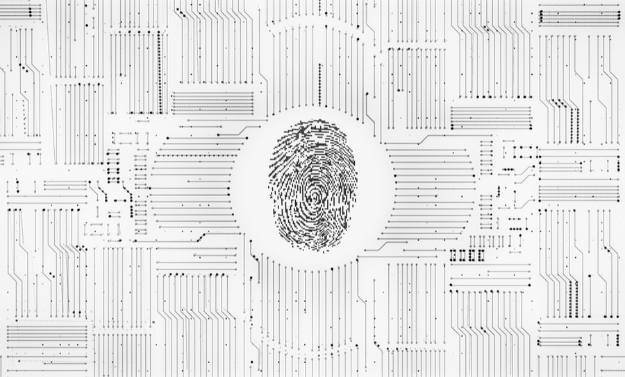 Fingerprint at the center of circuits on a board