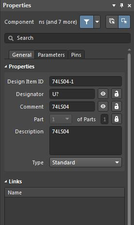 The properties setup for our new component for Altium library multiple parts