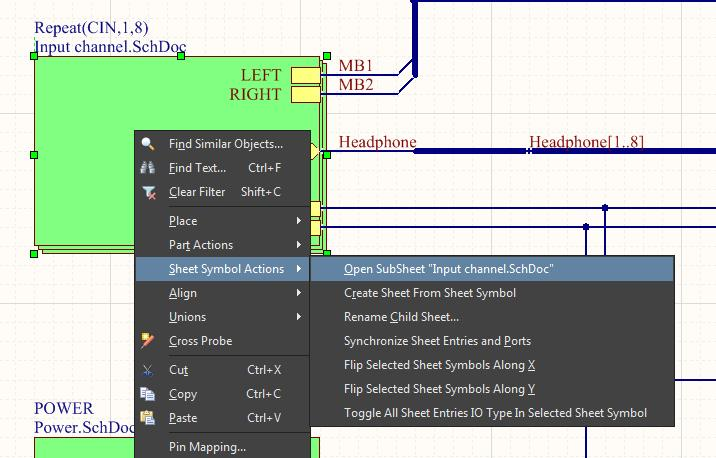 Screenshot of AD18 block symbol in a hierarchical schematic design