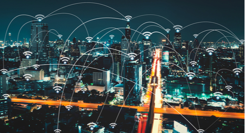 Smart city skyline with WiFi connectivity
