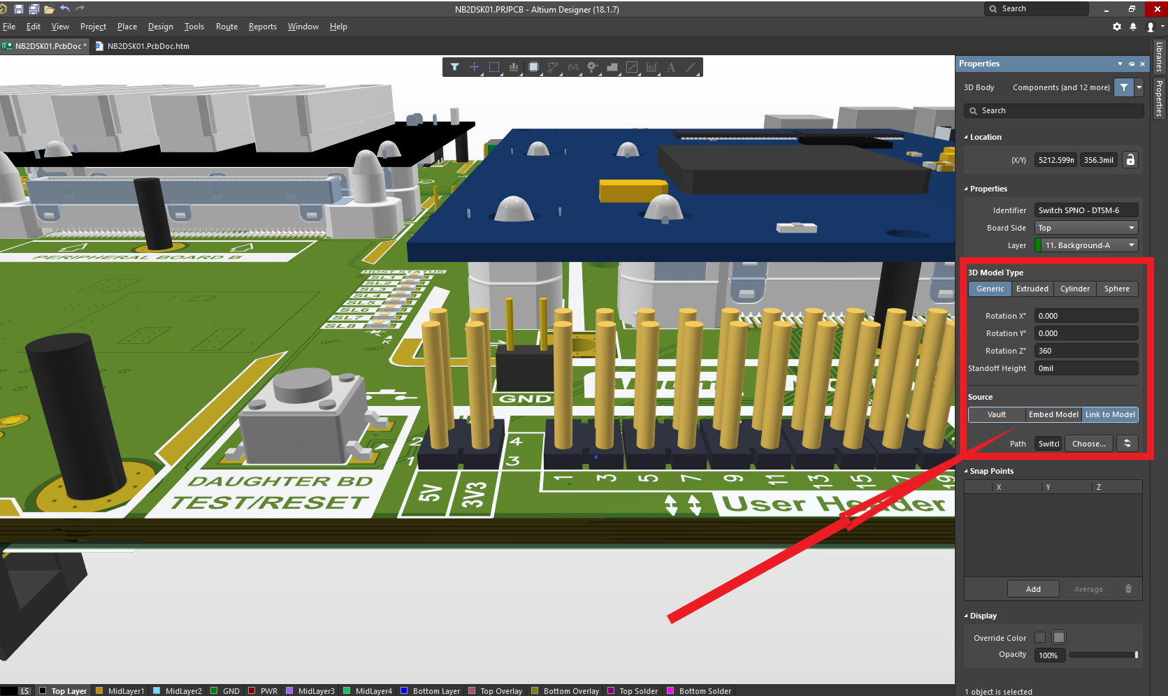 Use Altium Design 18 properties panel to assign 3D model type