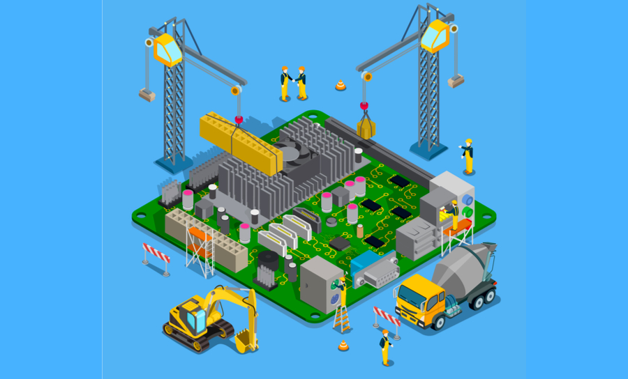 Cartoon of construction workers building a PCB in BOM application