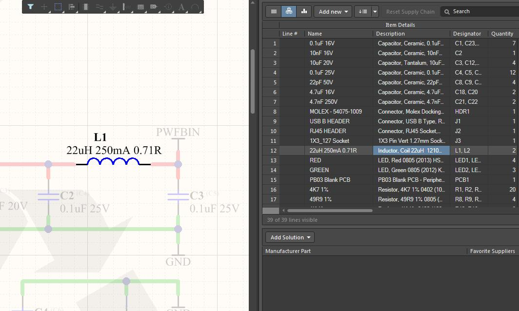 Screenshot of AD18 cross select from BOM to schematic in BOM application