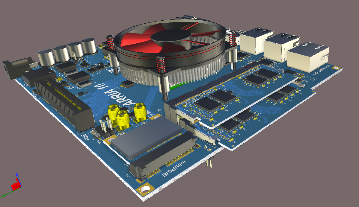 Screenshot of Altium 3D View multi-board assembly