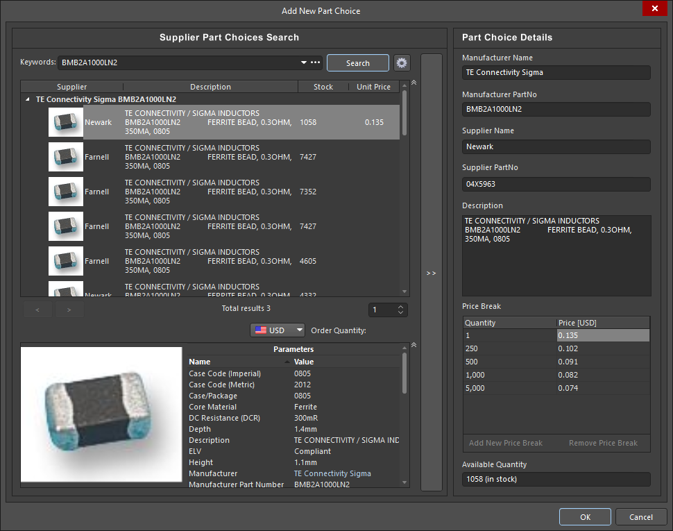 Screenshot of part sourcing in Altium Designer