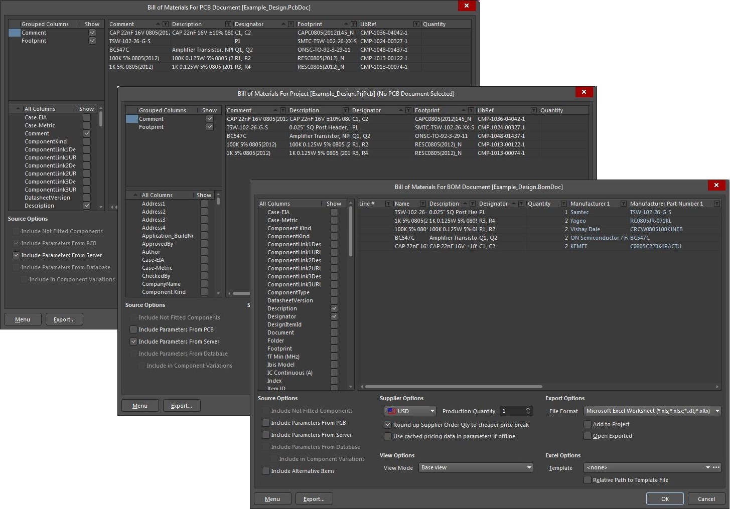 Screenshot of AD18  report menus in optimize a bill of material