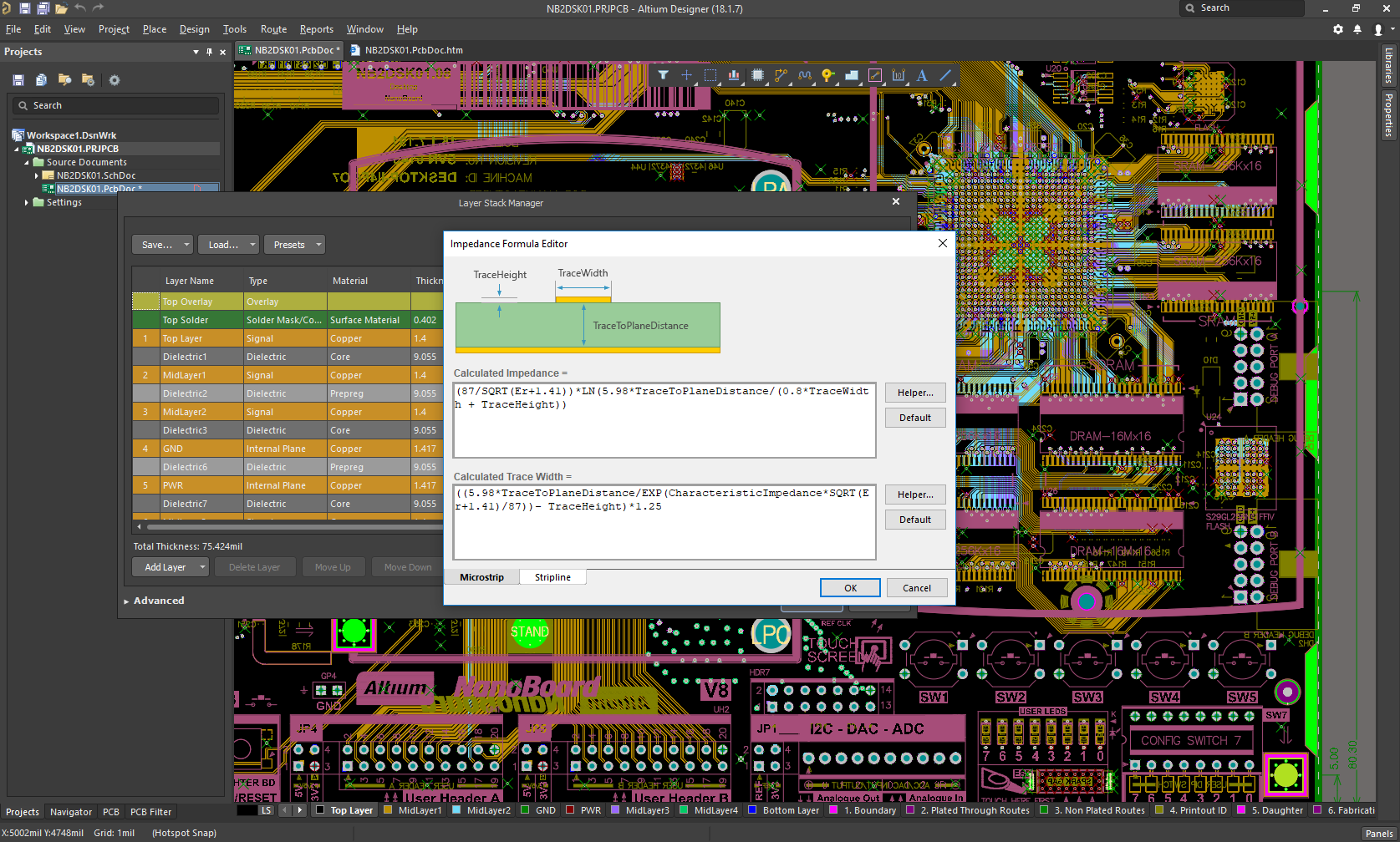 Impedance Formula Editor within Altium's Layer Stack Manager