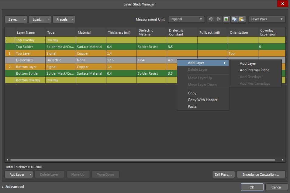 Captura de pantalla del administrador de apilado de capas de AD18 para la creación de PCB a partir de un esquemático