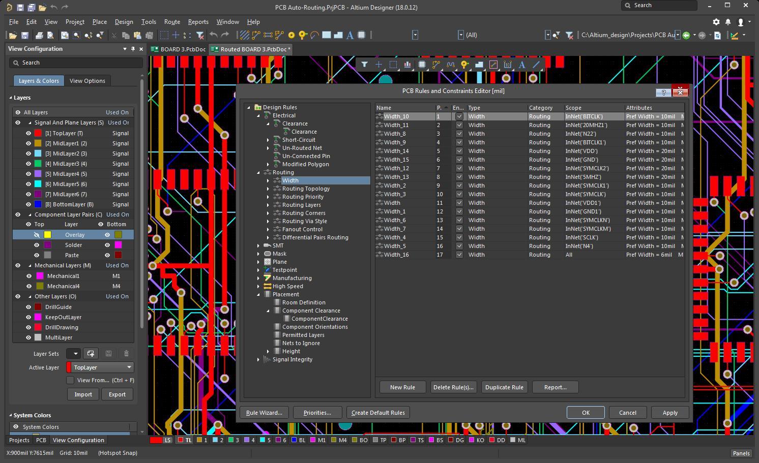 Screenshot of the rules editor in Altium Designer