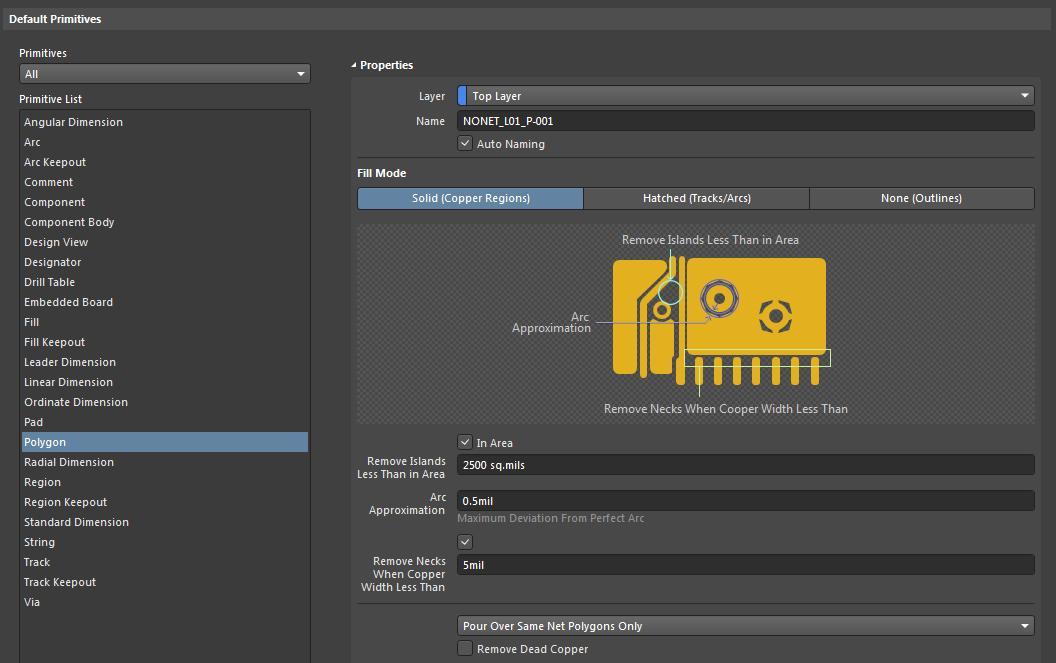 Screenshot of AD18 default primitives setup in polygon pours for copper regions