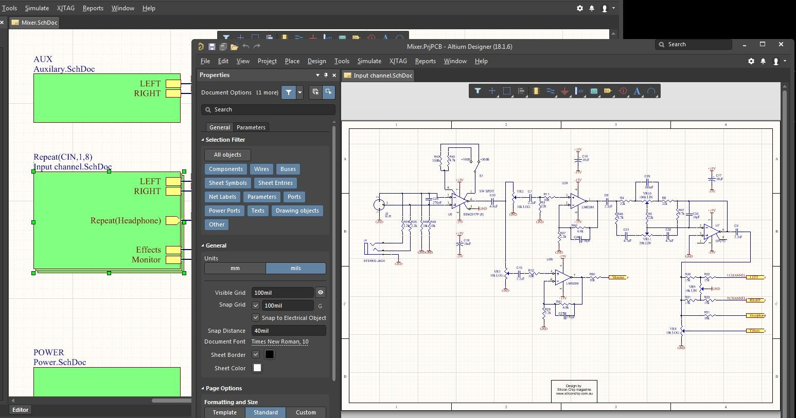 Screenshot of AD18 schematic hierarchy in the cost of CAD software