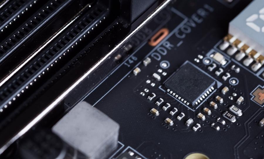 Microchip on a dark PCB