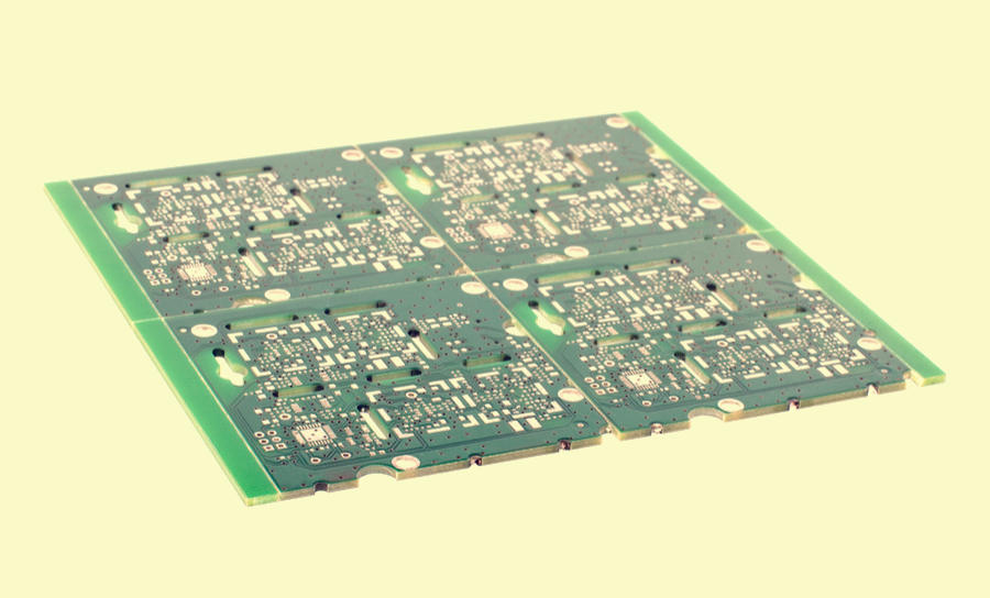 4x Panelized FR4 PCB with green solder mask