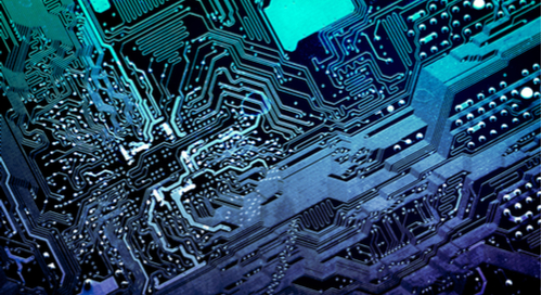 Electronic components on the blue printed circuit board