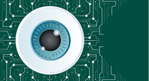 Eye ball on PCB background