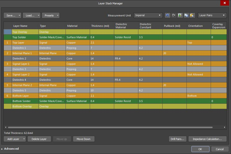 Screenshot of AD18 layer stack manager-6 in best uses for each layer