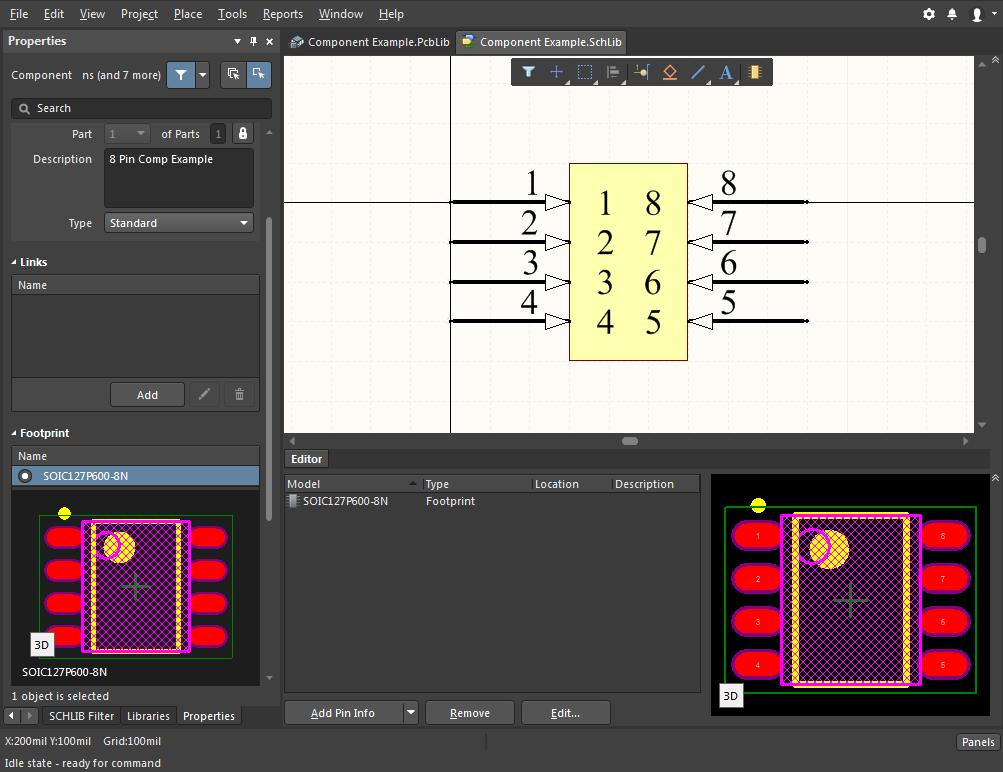 Screenshot of the new Altium  component for editing multiple components