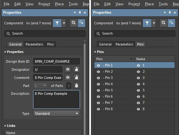 Screenshot of the symbol properties for editing multiple components