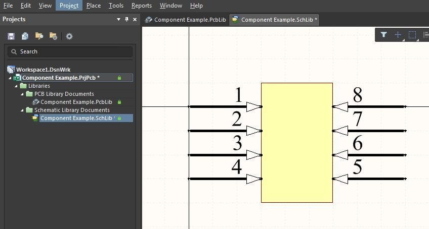 Screenshot of the new symbol in the schematic library for editing multiple components