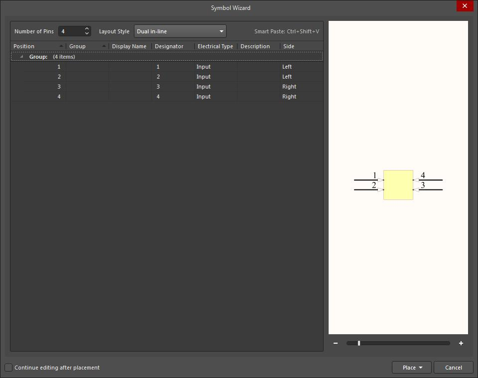 Screenshot of the symbol creation wizard for editing multiple components