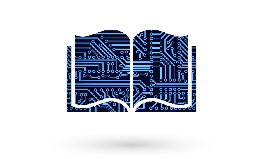 Library book with PCB trace routing and holes on it for editing multiple components