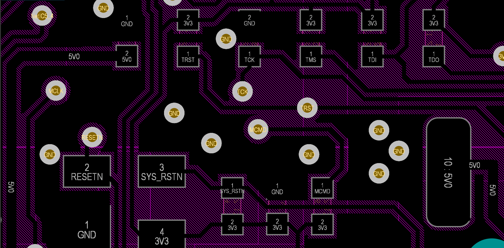Altium names pads and vias with net names for elegant routing