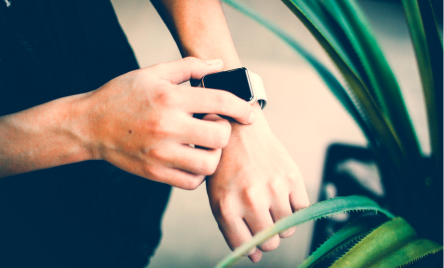 IoT wearable next to plant environment