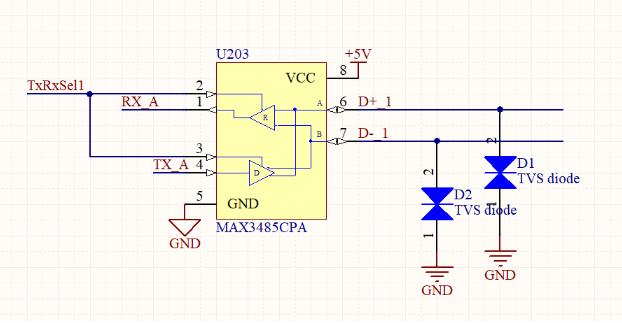Schematic of typical TVS diode connection
