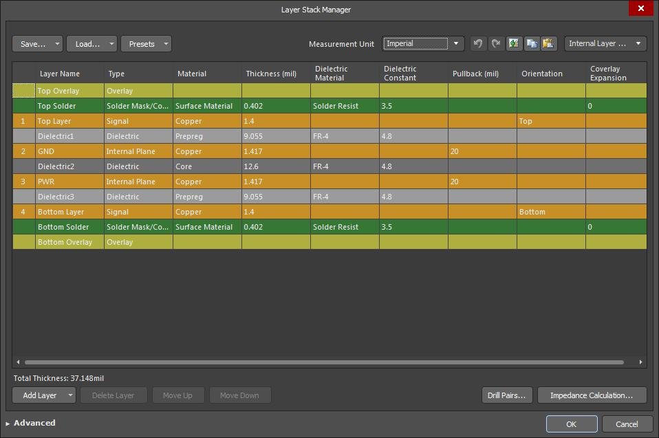 Screenshot of AD18 layer stack manager in creating a ground plane