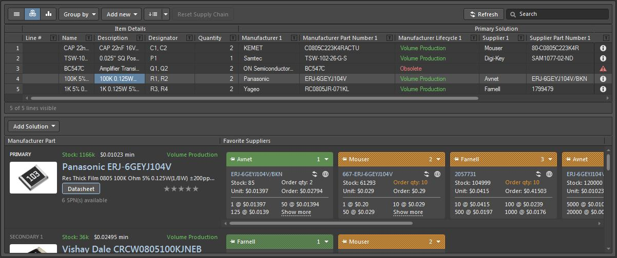 Screenshot of AD18 cross select in bill of material software