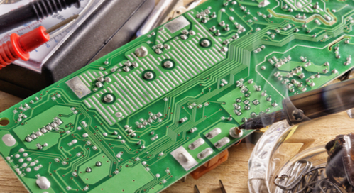 Soldering iron and other equipment for soldering electronic boards