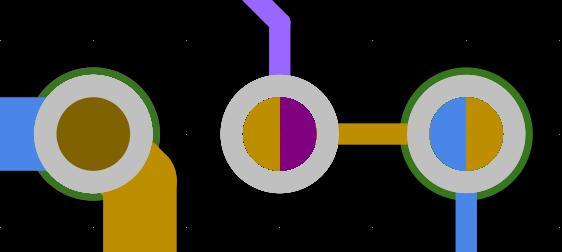 Les couleurs d'un via borgne ou enterré vous permettent d'identifier la couche sur laquelle il commence et se termine.