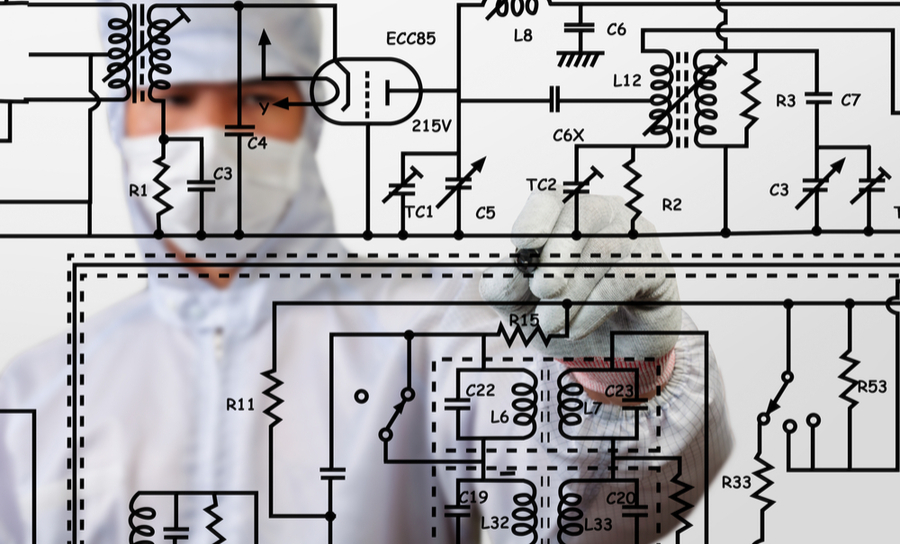 Engineer drawing electronics circuit