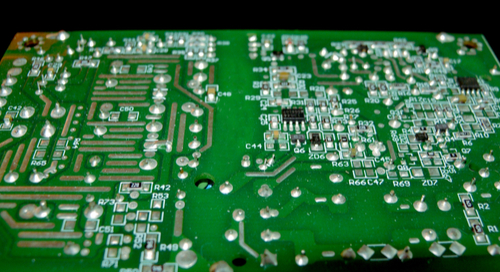Backside of a green PCB