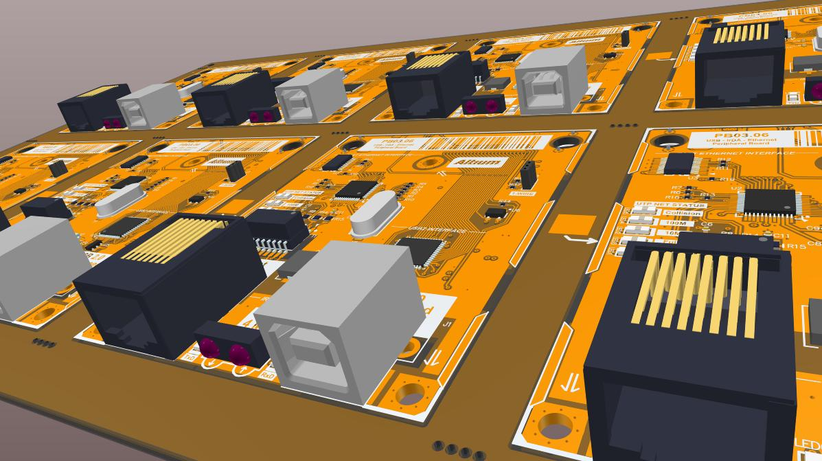 Screenshot of 3D panelization in Altium Designer