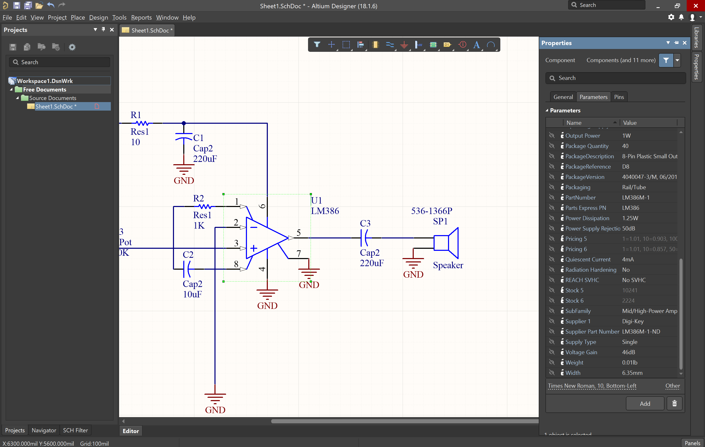 Schematic layout with component and supplier options within Altium