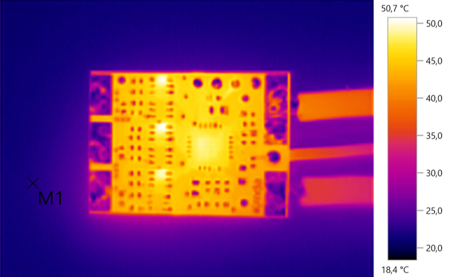 Thermal image of a circuit board with scale on the side