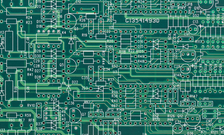 Empty PCB with inscribed schematic diagram