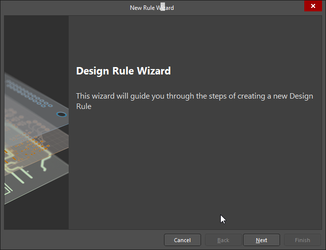Design rule wizard option for circuit boards