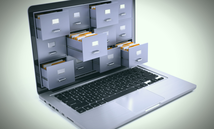 File cabinet in a laptop screen
