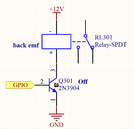 De-energized relay with back EMF
