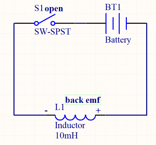 De-energized inductor