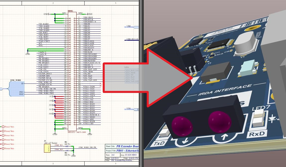 Screenshot of AD schematic and layout in integration of schematic capture