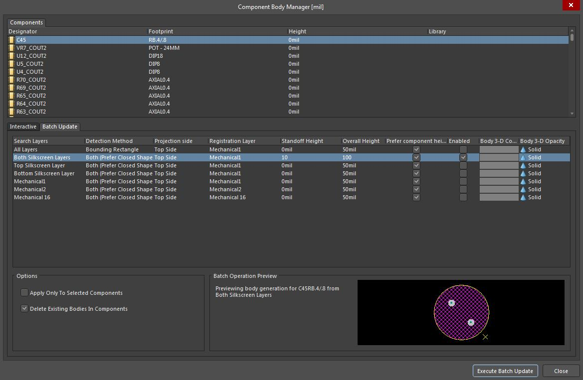 Screenshot of AD18 component body batch update settings in 3D viewing software