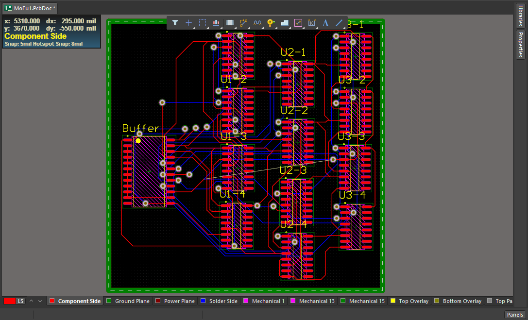 Screenshot of the routed board in Altium Designer