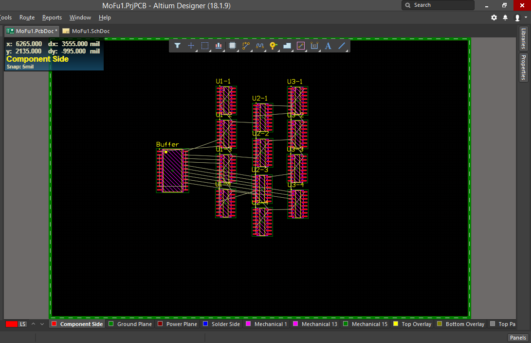 Screenshot of our initial layout before finalizing routing