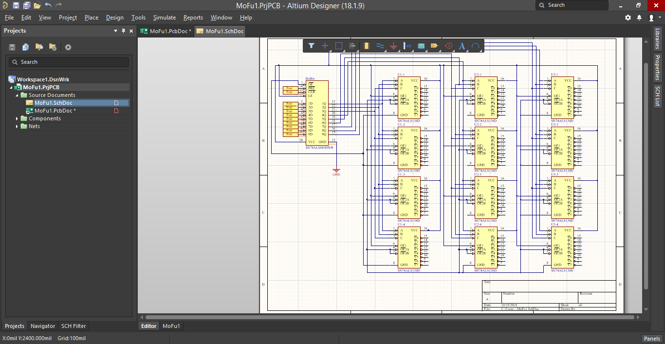 Screenshot of a schematic with several ICs in Altium