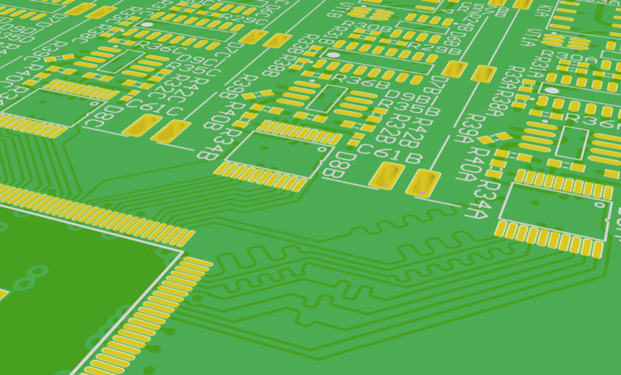 3D image of trace routing on a green PCB