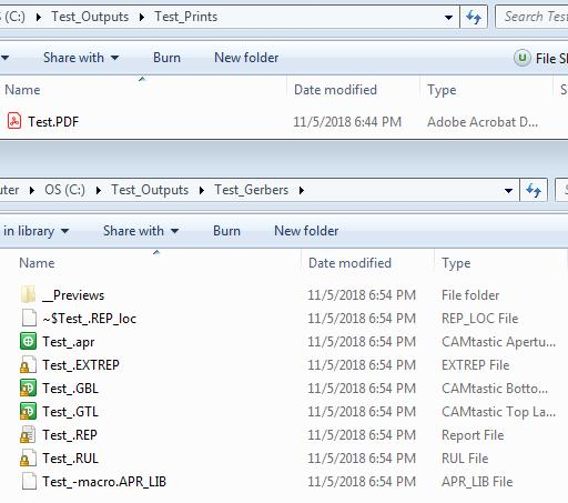 Screenshot of AD18 output files in board design output files