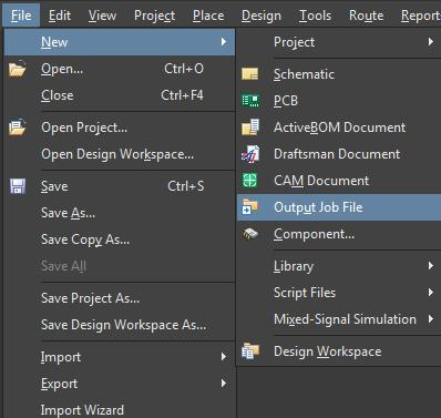 Screenshot of AD18 create output job file in printed circuit design output files